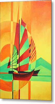 Metal Print featuring the painting Sail To Shore by Tracey Harrington-Simpson