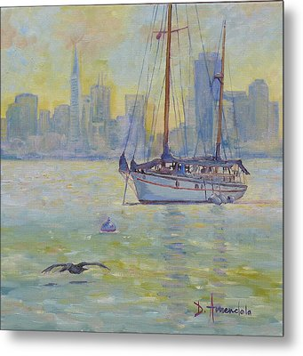 Sailboat Anchored At Sunset Metal Print by Dominique Amendola