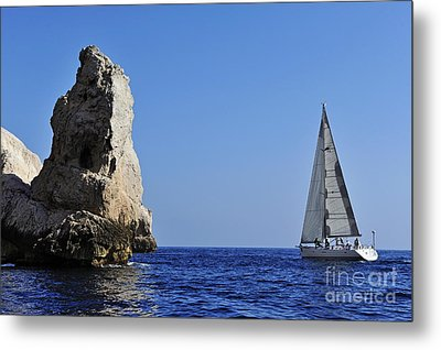Sailboat By Riou Island Rocks Metal Print by Sami Sarkis
