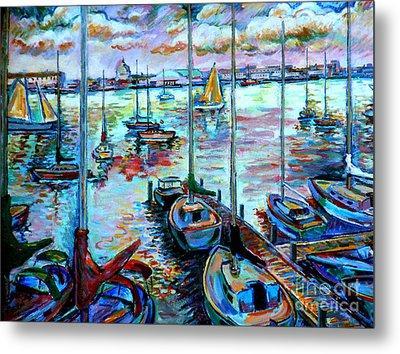 Sailboat Harbor Metal Print