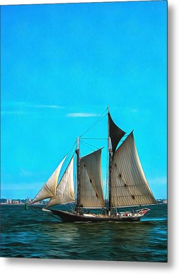 Sailboat In The Bay Metal Print by Mick Flynn