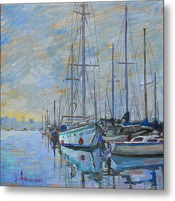 Sailboat In The Evening Fog Metal Print by Dominique Amendola