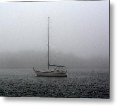 Sailboat In The Fog Metal Print