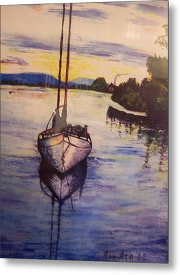 Sailboat In The Mangroves Of Costa Rica Metal Print by Ronald Ataide