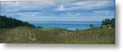 Sailboat In Water, Indiana Dunes State Metal Print by Panoramic Images