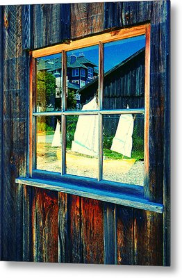 Sailboat In Window 2 Metal Print