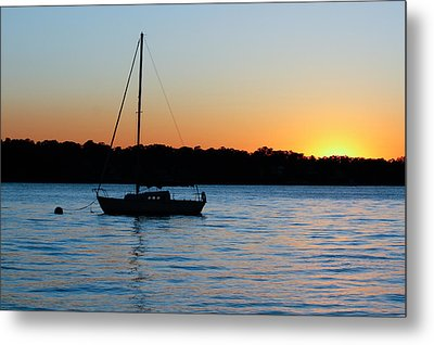 Metal Print featuring the photograph Sailboat Moored At Sunset by Ann Murphy