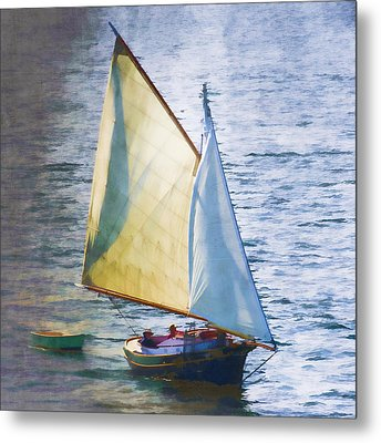 Sailboat Off Marthas Vineyard Massachusetts Metal Print by Carol Leigh