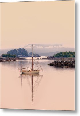 Sailboat On Inside Passage Of Alaska Metal Print