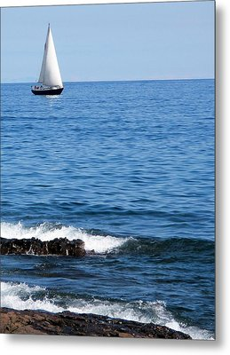 Sailboat On Superior Metal Print