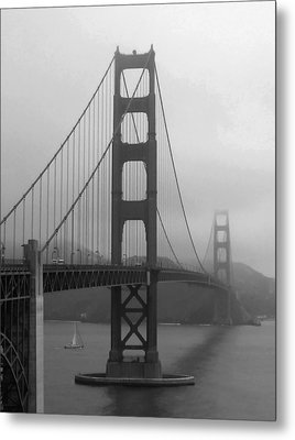 Sailboat Passing Under Golden Gate Bridge Metal Print by Connie Fox