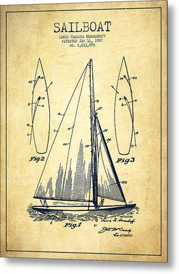 Sailboat Patent Drawing From 1927 - Vintage Metal Print by Aged Pixel