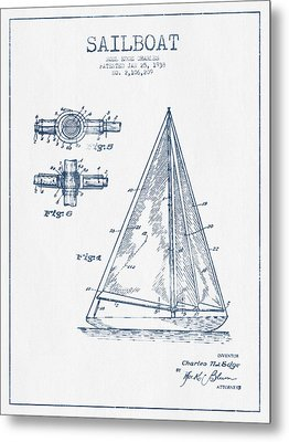 Sailboat Patent Drawing From 1938  -  Blue Ink Metal Print by Aged Pixel