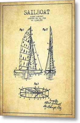Sailboat Patent Drawing From 1938 - Vintage Metal Print by Aged Pixel