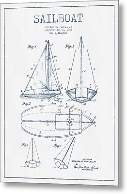 Sailboat Patent Drawing From 1948  -  Blue Ink Metal Print by Aged Pixel