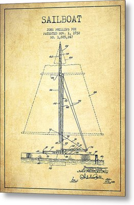 Sailboat Patent From 1932 - Vintage Metal Print by Aged Pixel