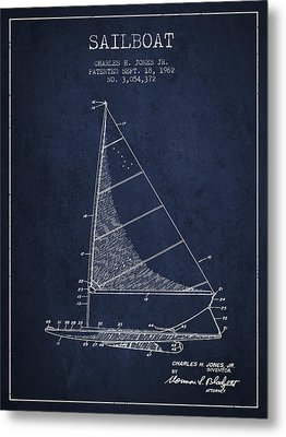 Sailboat Patent From 1962 - Navy Blue Metal Print by Aged Pixel
