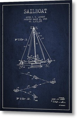 Sailboat Patent From 1965 - Navy Blue Metal Print by Aged Pixel