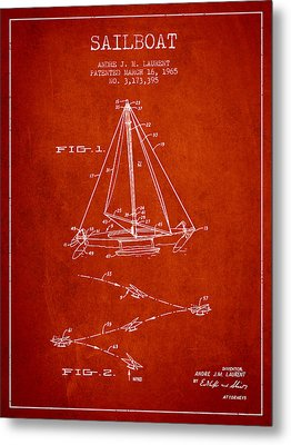 Sailboat Patent From 1965 - Red Metal Print by Aged Pixel