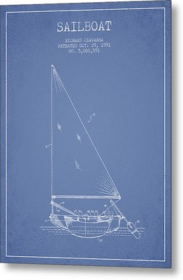 Sailboat Patent From 1991- Light Blue Metal Print by Aged Pixel