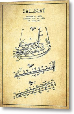 Sailboat Patent From 1996 - Vintage Metal Print by Aged Pixel