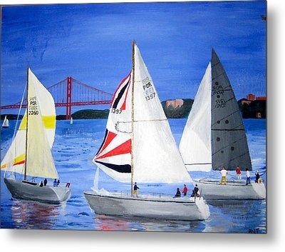 Sailboat Race In Lisbon Metal Print