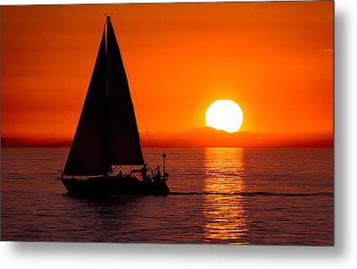 Sailboat Sunset Metal Print