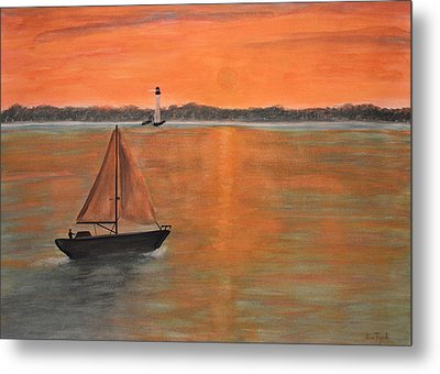 Sailboat Sunset Metal Print