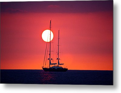 Sailboat Sunset Metal Print by Venetia Featherstone-Witty