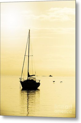 Sailboat With Sunglow Metal Print by Barbara Henry