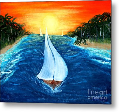 Metal Print featuring the painting Sailboats 2 by Oksana Semenchenko