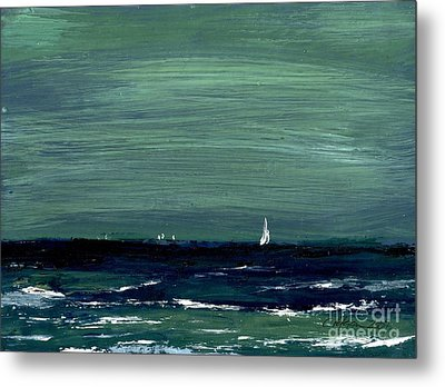 Sailboats Across A Rough Surf Ventura Metal Print by Cathy Peterson