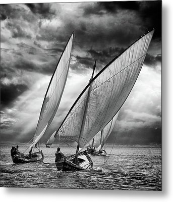 Sailboats And Light Metal Print by Angel Villalba