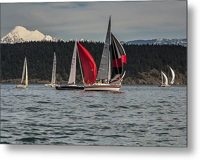 Sailboats And Mt Baker Metal Print by Tony Locke