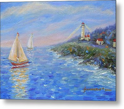 Sailboats At Heceta Head Lighthouse Metal Print by Glenna McRae