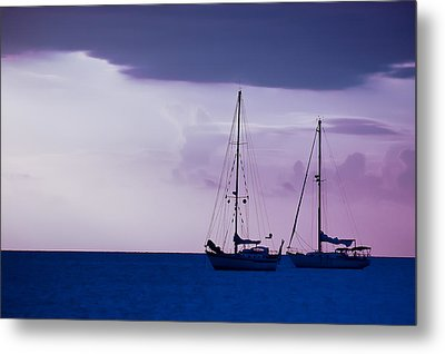 Metal Print featuring the photograph Sailboats At Sunset by Don Schwartz