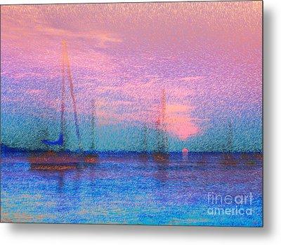 Sailboats At Sunset Metal Print by Jeff Breiman