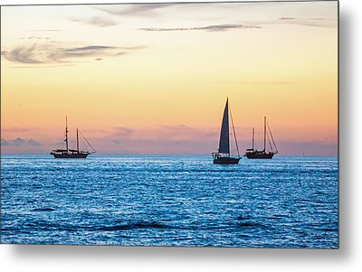 Sailboats At Sunset Off Key West Florida Metal Print
