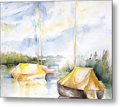 Sailboats Awakening Metal Print by Barbara Pommerenke