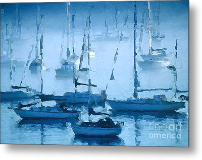 Sailboats In The Fog II Metal Print by David Perry Lawrence