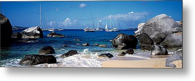 Sailboats In The Sea, The Baths, Virgin Metal Print by Panoramic Images