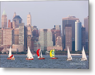 Sailboats On The Hudson I Metal Print by Clarence Holmes