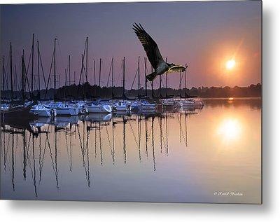 Sailboats Osprey Sunrise Metal Print by Randall Branham