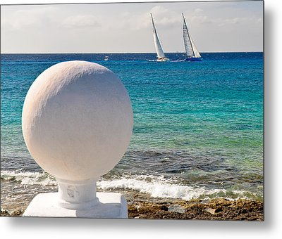 Metal Print featuring the photograph Sailboats Racing In Cozumel by Mitchell R Grosky