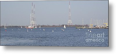 Sailboats With Chesapeake Bay Bridge Beyond Metal Print by Christina Verdgeline