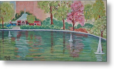 Sailin' Away In Central Park Metal Print by Margaret Bobb