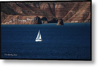 Metal Print featuring the photograph Sailing At Roosevelt Lake On The Blue Water by Tom Janca