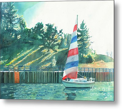 Metal Print featuring the painting Sailing Back To Port by LeAnne Sowa