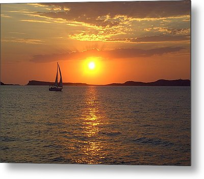 Sailing Boat In Ibiza Sunset Metal Print