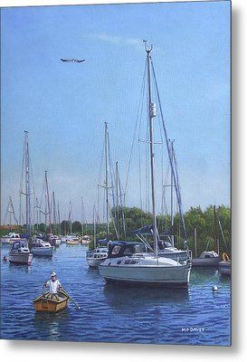 Sailing Boats At Christchurch Harbour Metal Print
